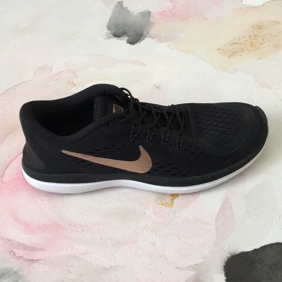 Black Nike Shoes With Rose Gold Swoosh
